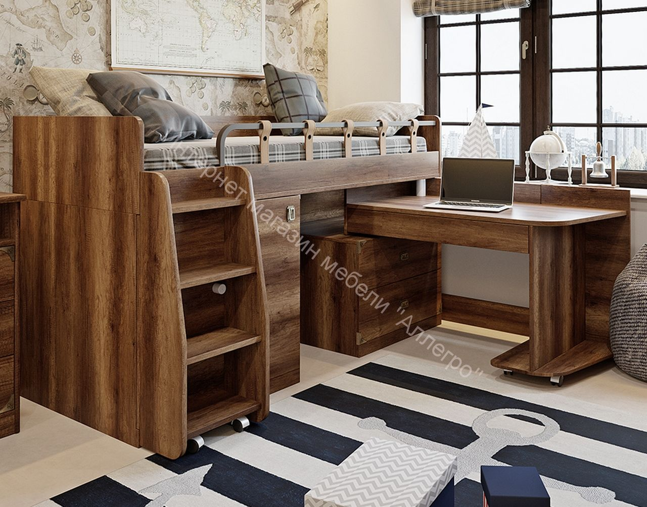 Кровать комбинированная «Навигатор» (Дуб Каньон)