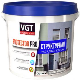Краска Фасадная Структурная VGT Protector Pro 15кг Зерно 0.5-1мм для Внутренних и Наружных Работ / ВГТ Протектор Про