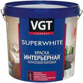 Краска Интерьерная для Стен VGT Superwhite ВД-АК-2180 1.5кг Супербелая, Матовая