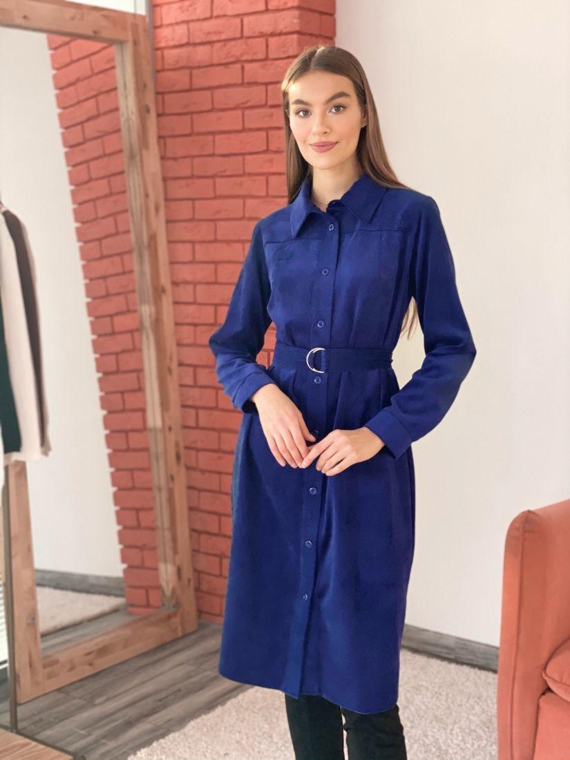 s3571 Платье-рубашка из вельвета синее