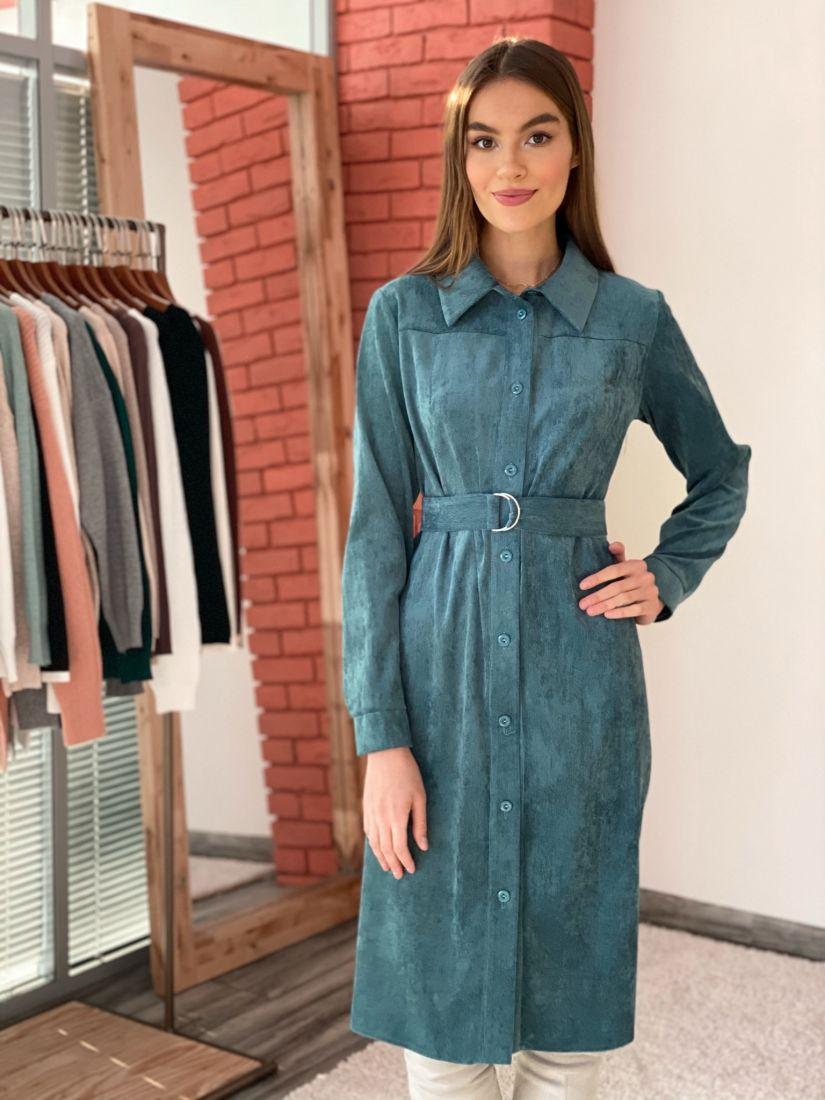 s3572 Платье-рубашка из вельвета в пыльном зелёном цвете