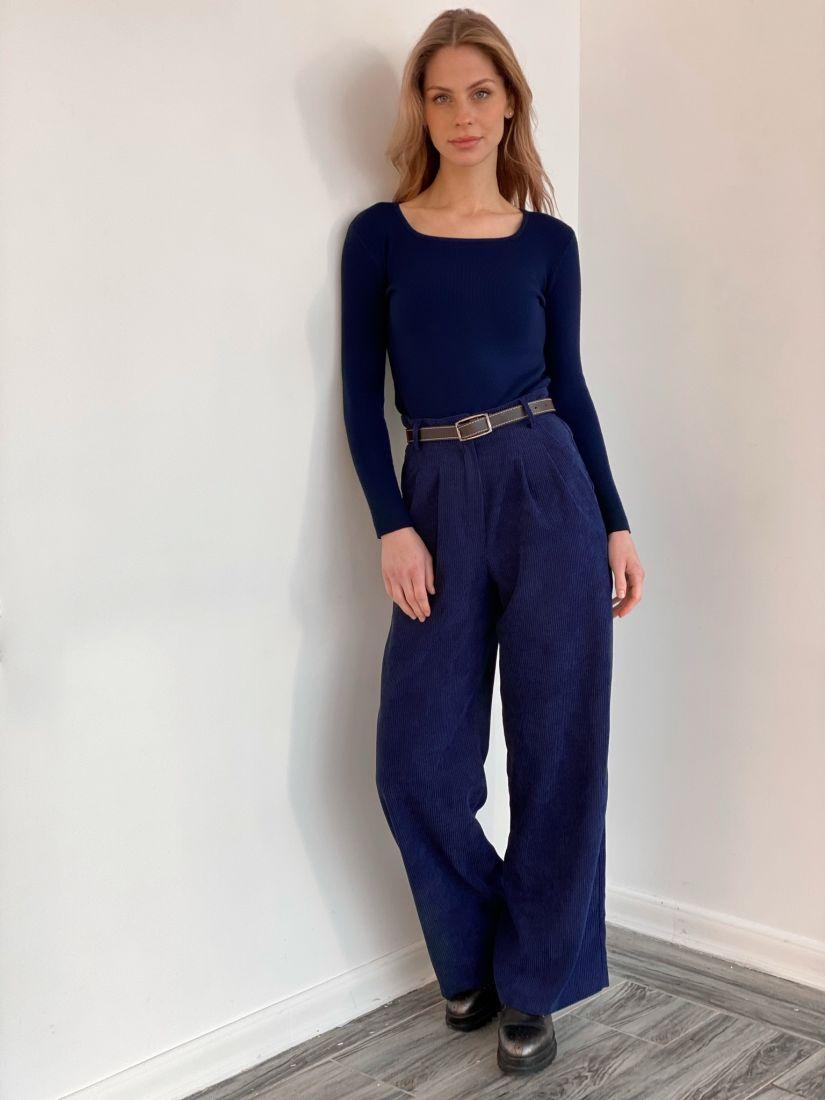 s3577 Широкие брюки из вельвета синие