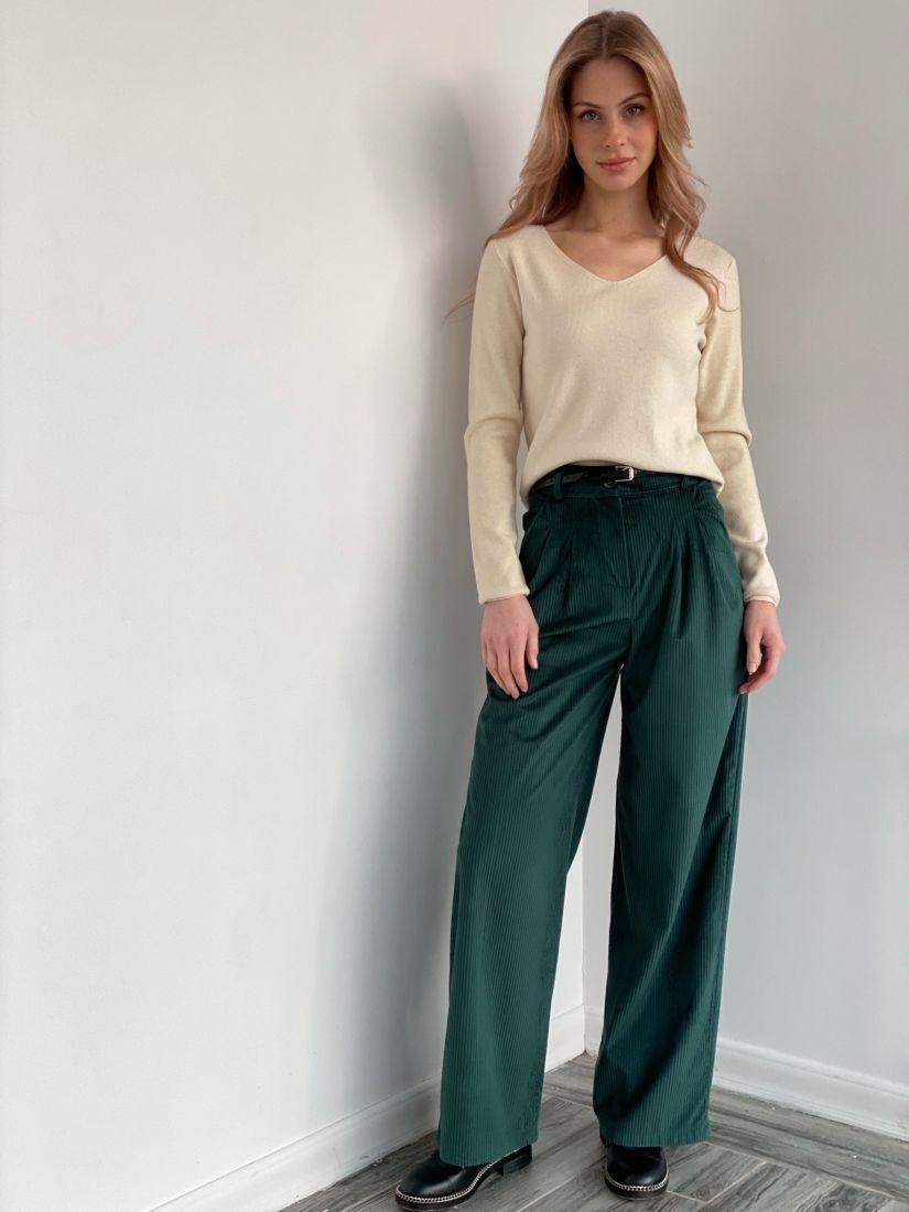 """s3578 Широкие брюки из вельвета в цвете """"изумруд"""""""