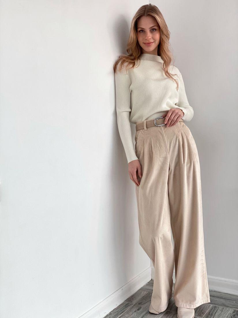 s3579 Широкие брюки из вельвета в цвете ivory