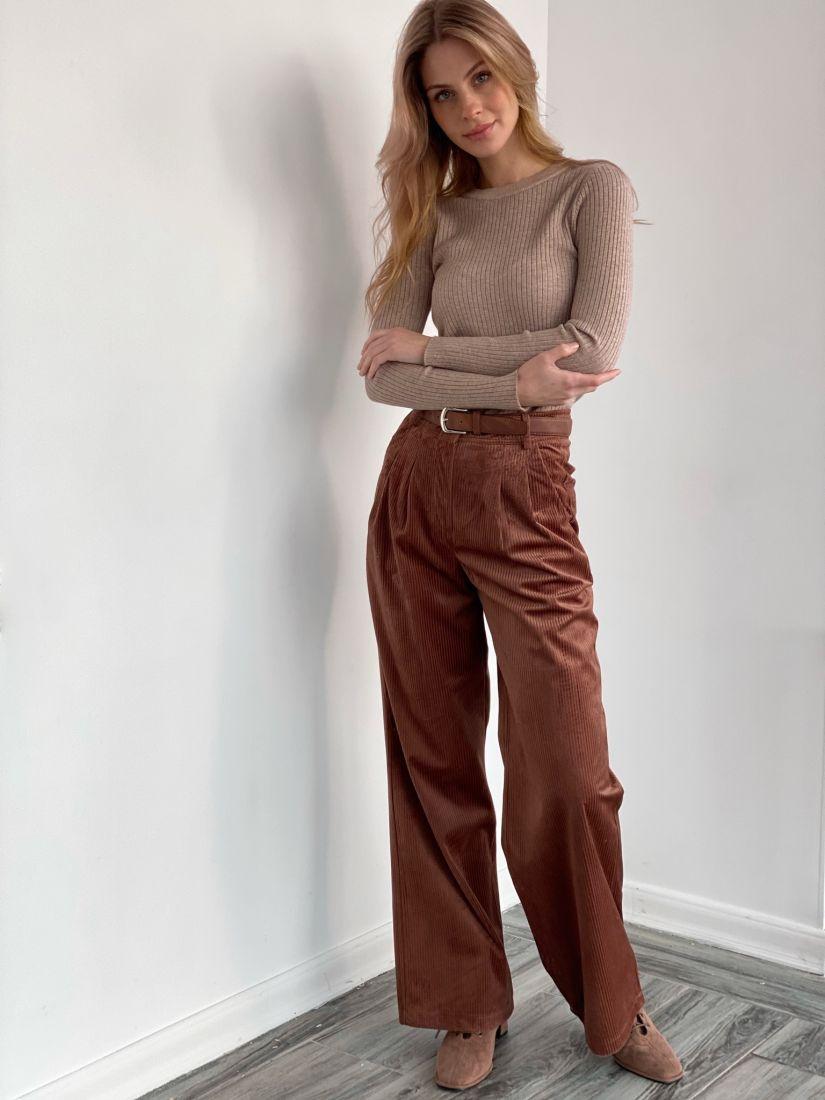 s3580 Широкие брюки из вельвета в цвете кофе