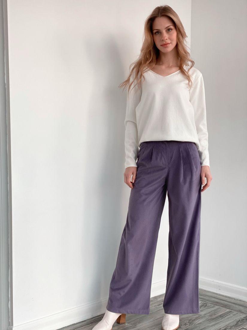 s3581 Широкие брюки из вельвета серо-лиловые