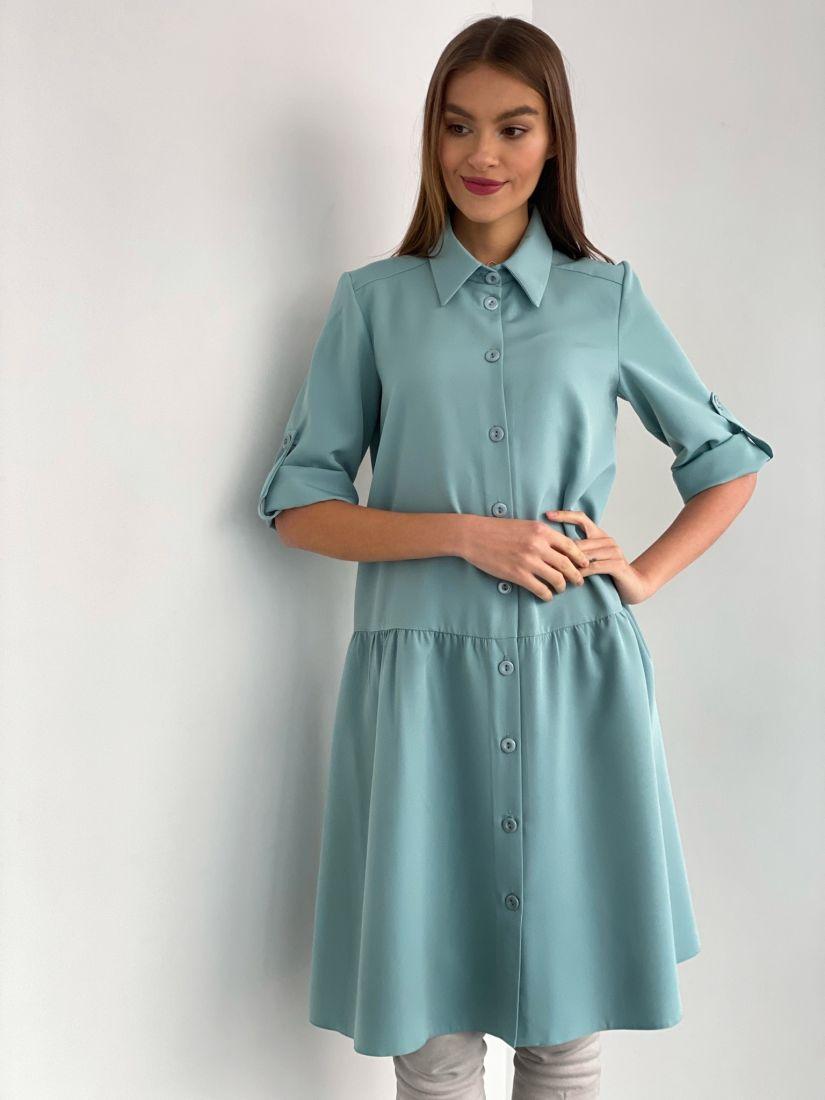 s3588 Платье-рубашка в цвете тиффани