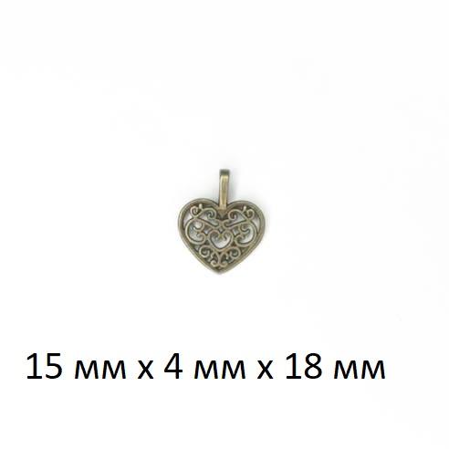 """Подвеска (кулон/ шарм) """"Сердце"""" из металла без покрытия (ШМ20-Сердце)"""