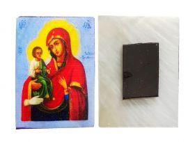 Икона Божией Матери «Троеручица». Магнитик на холодильник на перламутровой индийской ракушке