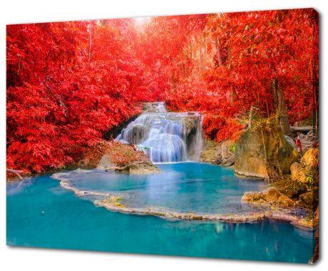 Картина на холсте Водопад в красном лесу