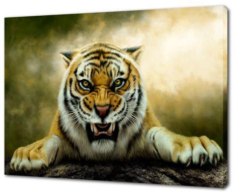 Картина на холсте Свирепый тигр