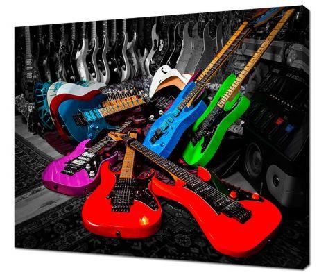 Картина на холсте Цветные гитары