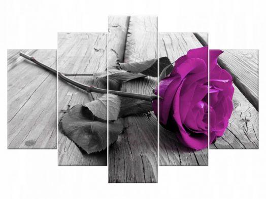 Модульная картина Фиолетовая роза в монохроме