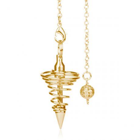 Маятник для биолокации Конус-пружинка, цвет золото.