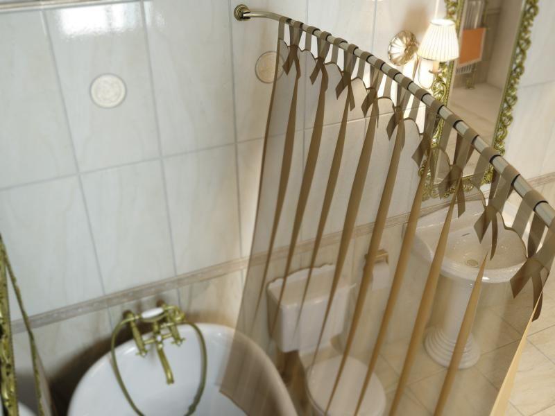 Карниз для ванной комнаты Elghansa Monterno CR-3 Bronze дуговой с кольцами телескопический, бронза