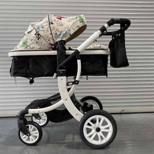 Коляска-трансформер Lux mom 608 2в1 Бабочка текстиль на белой раме+сумка для мамы