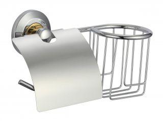 Держатель для туалетной бумаги и освежителя Savol S-L07151 хром/золото