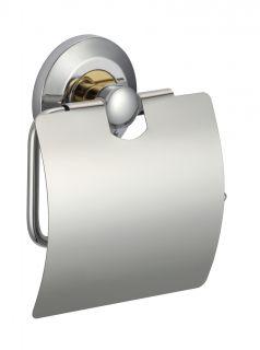 Держатель для туалетной бумаги Savol S-007151 с крышкой хром/золото