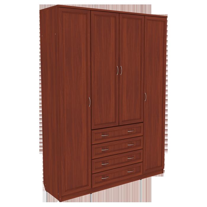 Шкаф для белья со штангой, полками и ящиками арт 110 (итальянский орех)