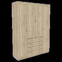 Шкаф для белья со штангой, полками и ящиками арт 110 (дуб сонома)