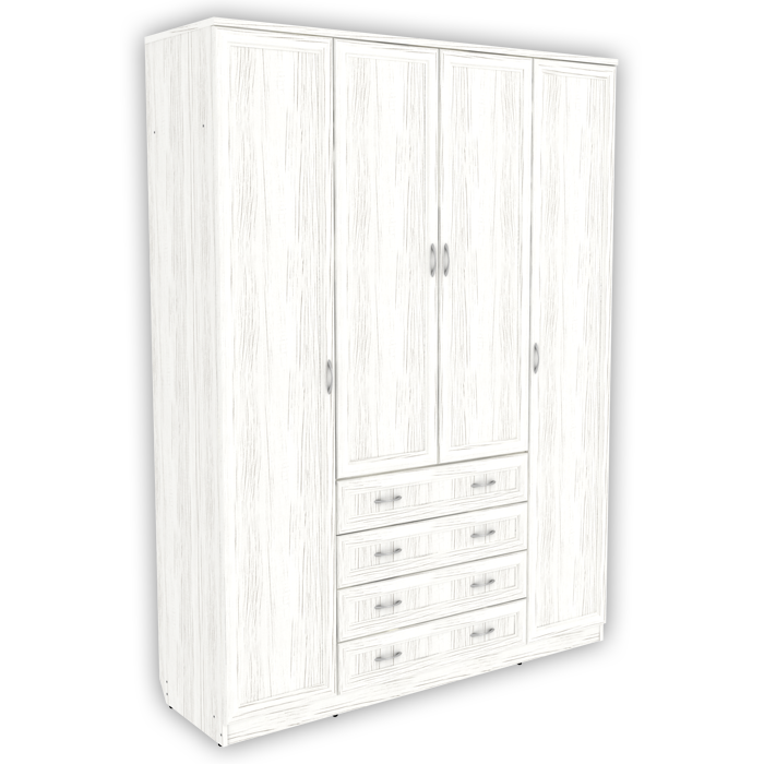 Шкаф для белья со штангой, полками и ящиками арт 110 (арктика)