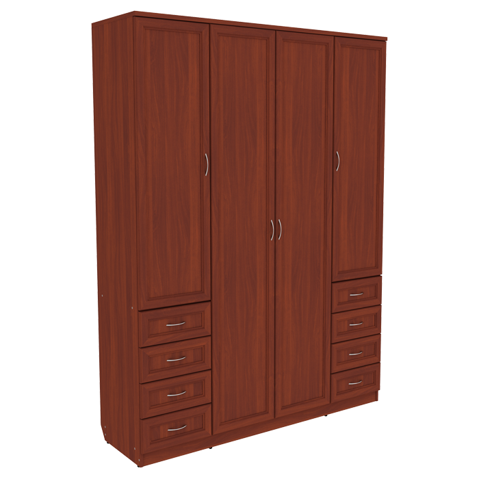 Шкаф для белья со штангой, полками и ящиками арт 112 (итальянский орех)