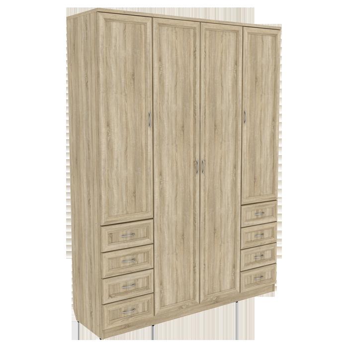Шкаф для белья со штангой, полками и ящиками арт 112 (дуб сонома)