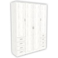 Шкаф для белья со штангой, полками и ящиками арт 112 (арктика)