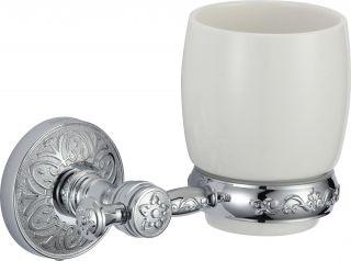 Стакан керамический с настенным держателем S-005858A Savol хром