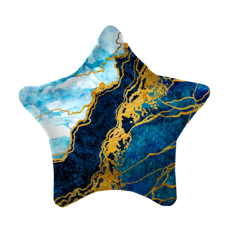 Звезда Синий мрамор шар фольгированный с гелием