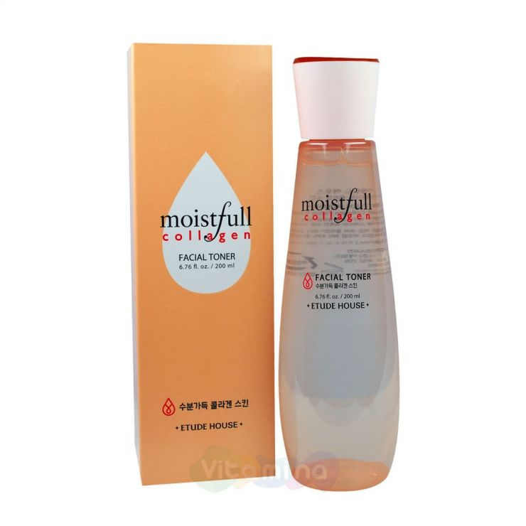 Etude House Увлажняющий тоник Moistfull Collagen Facial Toner, 200 мл