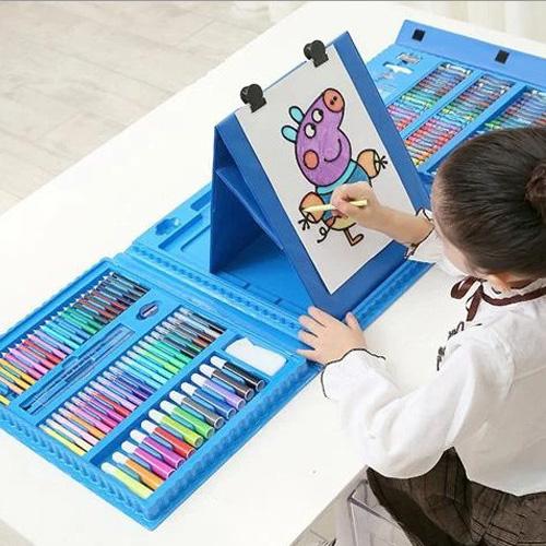 Набор для рисования со складным мольбертом Super Mega Art Set, 208 предметов, Цвет Голубой