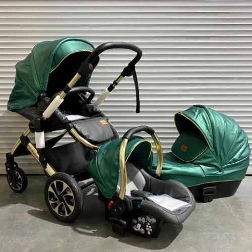 Модульная коляска 3в1 Luxmom 808 Зелёная экокожа