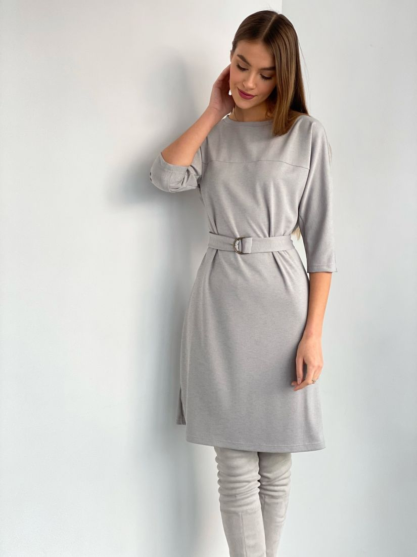 s3591 Платье из трикотажа в ёлочку в холодном сером цвете