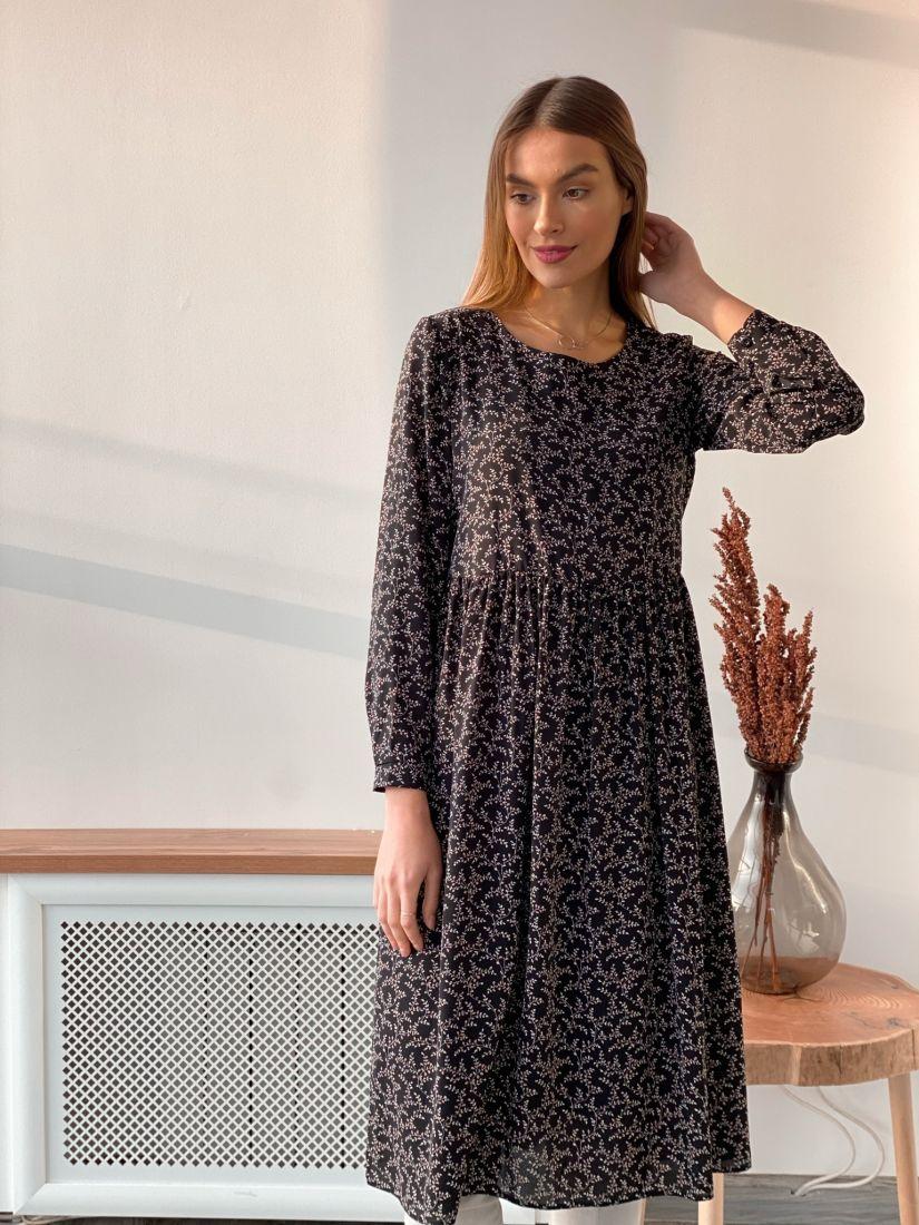 s3600 Платье в мелкий цветочек чёрное
