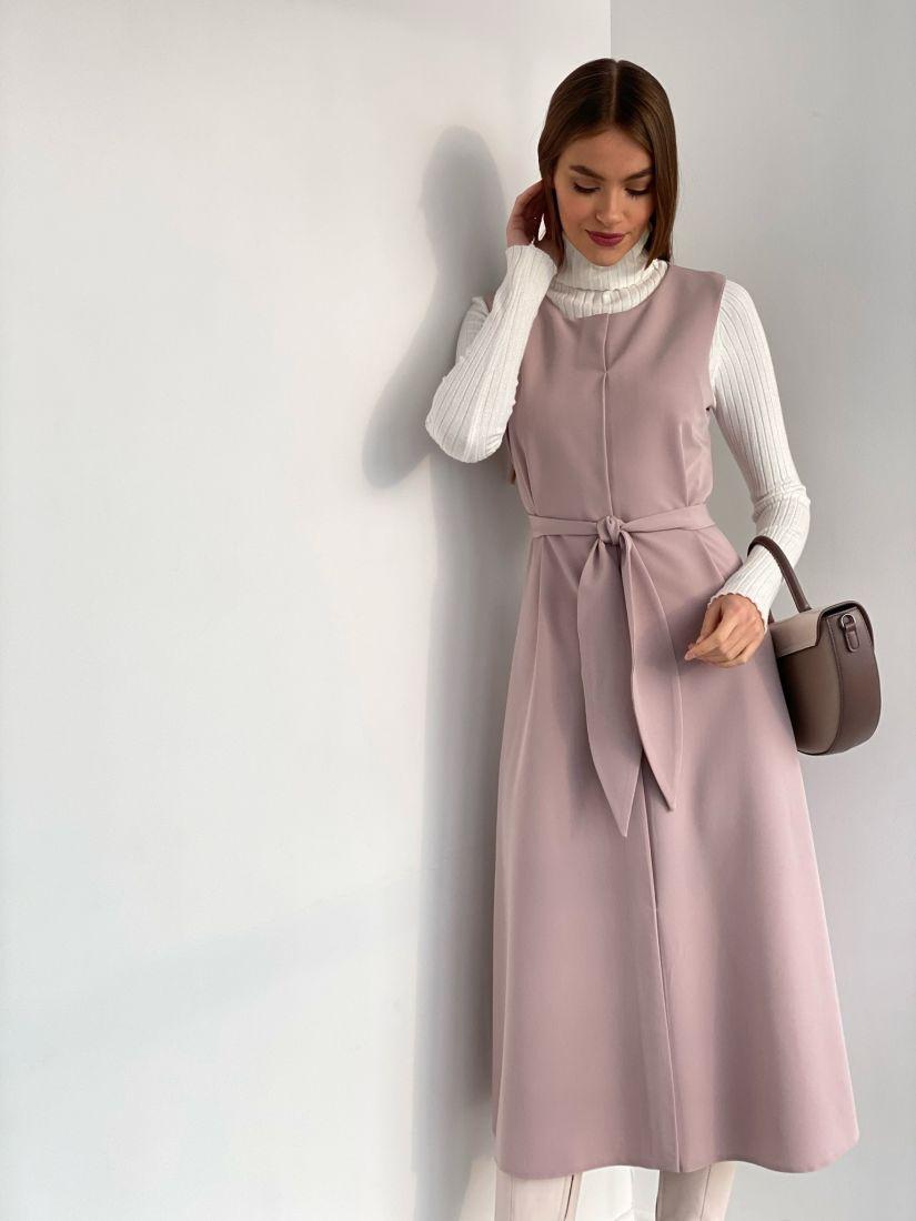 s3605 Платье с имитацией запаха пудровое