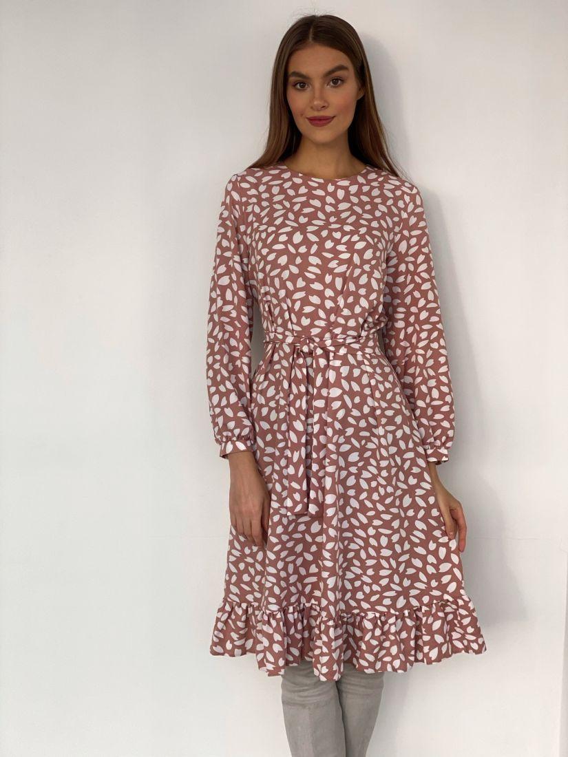 s3606 Платье пудровое с тюльпанчиками