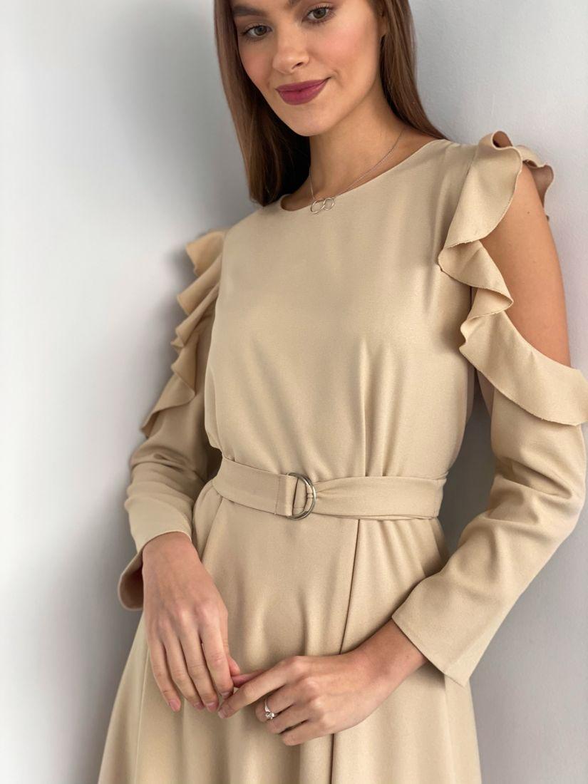 s3613 Платье с открытыми плечами в цвете слоновой кости