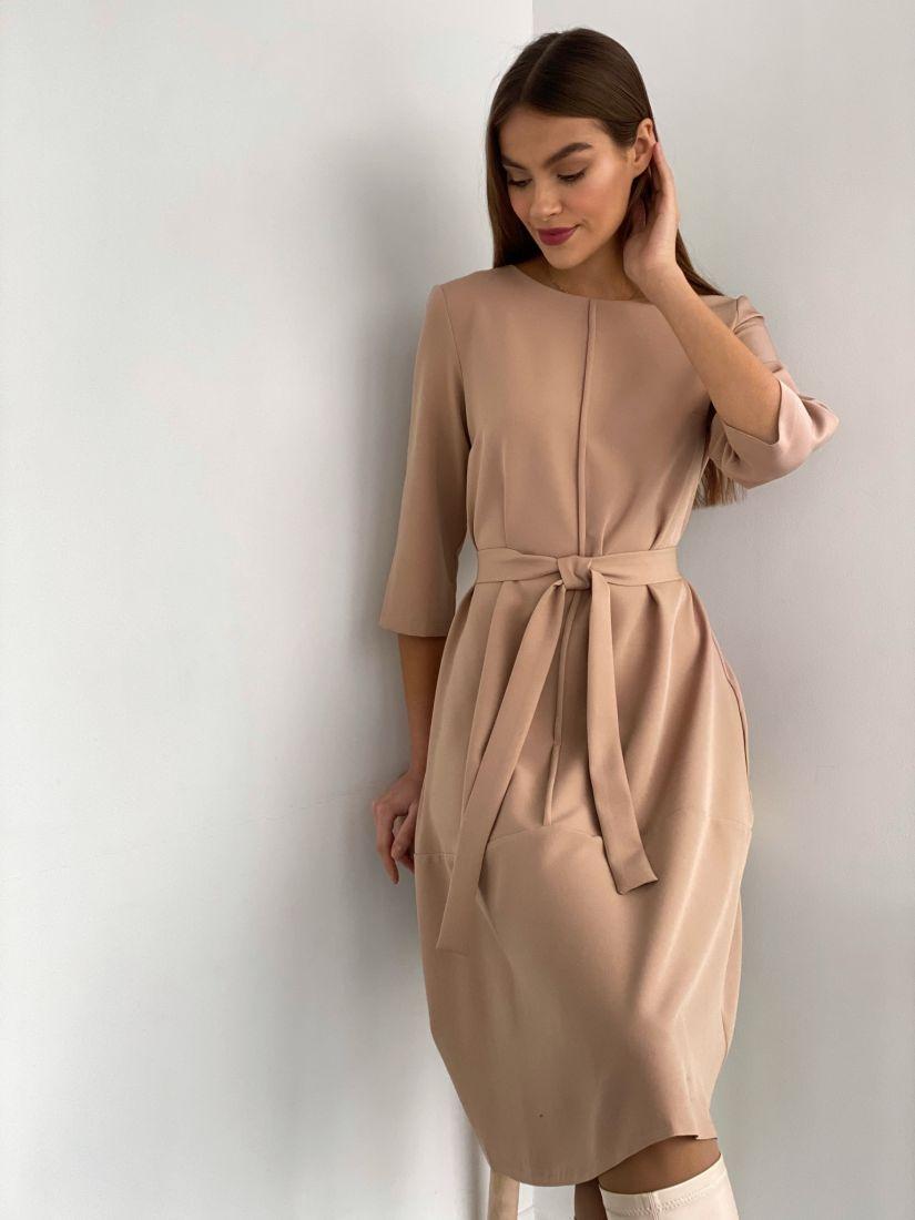 s3614 Платье-трапеция с планкой бежевое