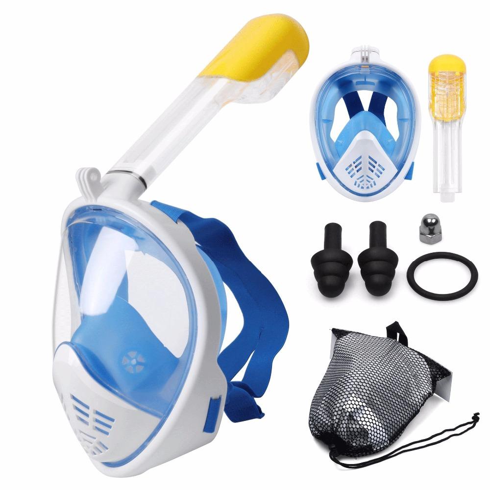 Маска для снорклинга с креплением для экшн-камеры Freebreath - цвет голубой
