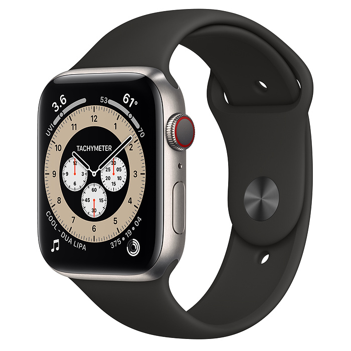 Часы Apple Watch Edition Series 6 GPS + Cellular 44mm Titanium Case with Black Sport Band