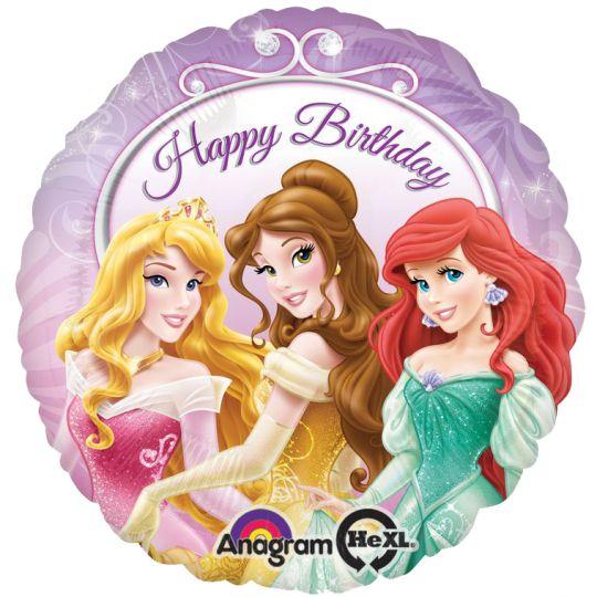 Принцессы С Днем Рождения круглый шар фольгированный с гелием