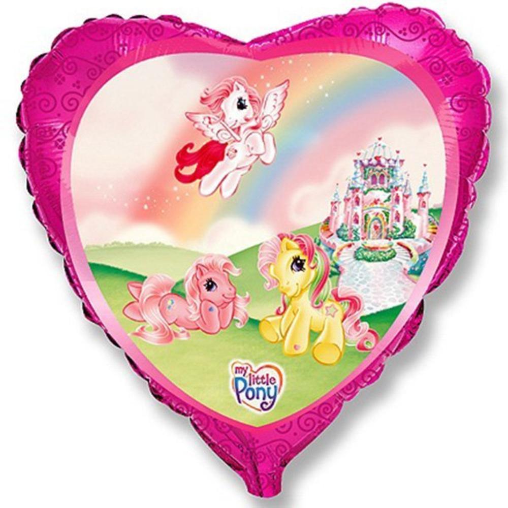 Сердце веселые пони шар фольгированный с гелием