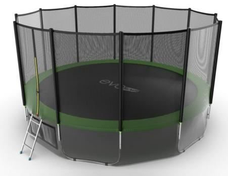 Батут с внешней сеткой и лестницей Evo Jump External 16ft (Green) + нижняя сетка
