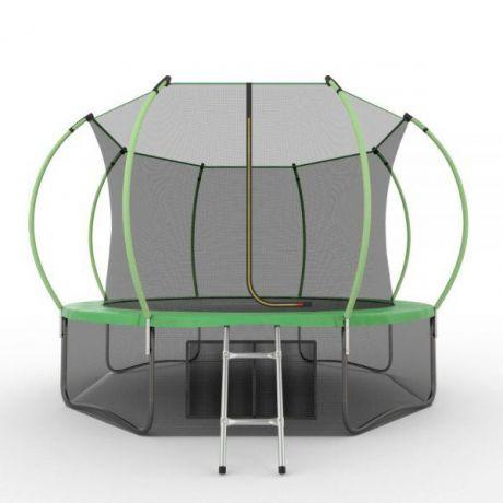 Батут с внутренней сеткой и лестницей Evo Jump Internal 12ft (Green) + нижняя сетка
