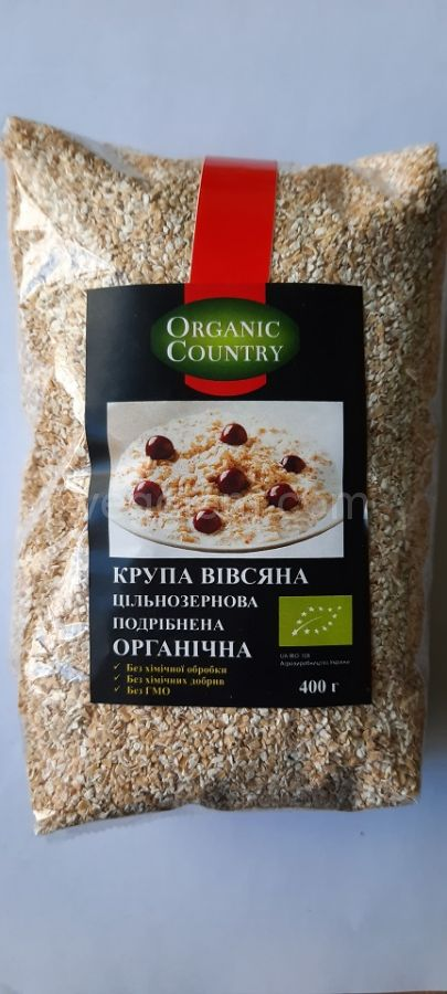 Органическая  цельнозерновая овсяная крупа (дробленная) Organic Country ,400 грамм