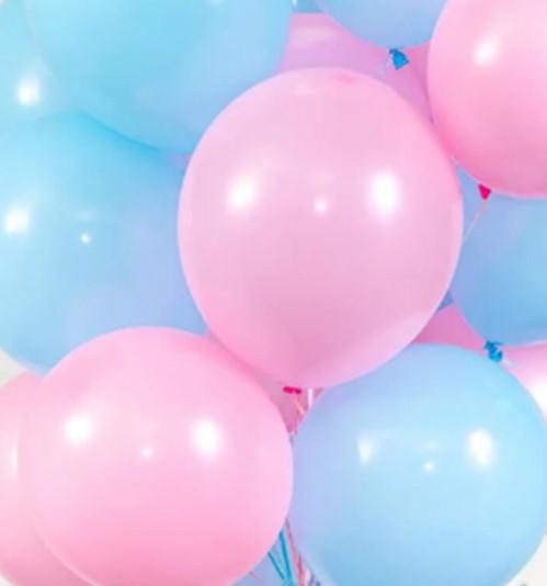 Ассорти розовый и голубой латексных шаров с гелием
