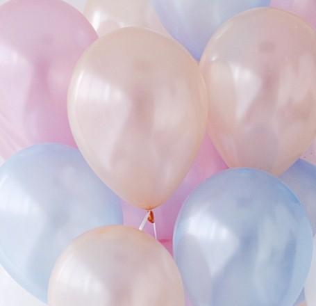 Ассорти розовый металлик, голубой металлик, персик металлик латексных шаров с гелием