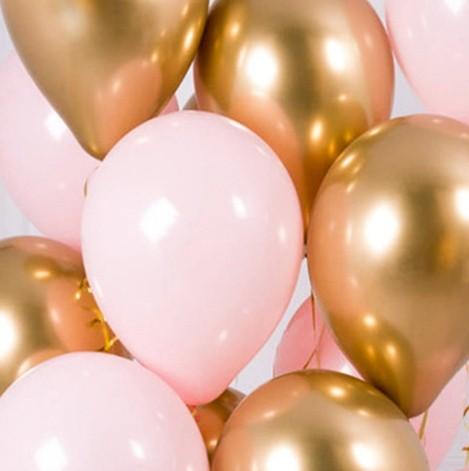 Ассорти розовый и золото хром Китай латексных шаров с гелием