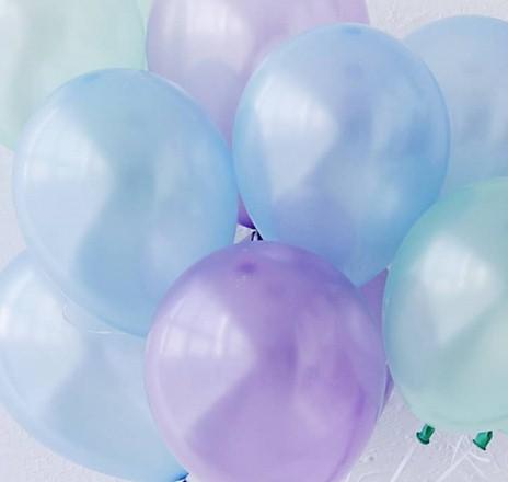 Ассорти мятный перламутр, голубой перламутр, лиловый перламутр латексных шаров с гелием